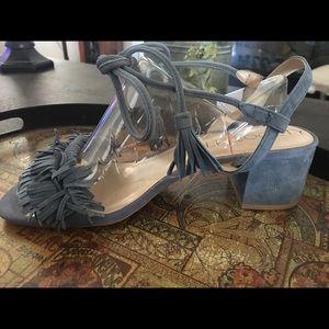 Sole Society Sera Blue Fringe Sandals